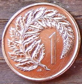 1 Цент, 1978 года,Новая Зеландия, Монета, Монеты, 1Cent 1978, New Zealand,Silver fern,Циатея серебристая на монете, Королева Elizabeth II, Елизавета IIна монете, Второй портрет королевы.