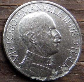 2 Лиры, 1923 года, Италия, Монета, Монеты, 2 Lire 1923, Italia,Italy,Сокира,Ax,Топорна монете, Король Виктор Еммануил III на монете.