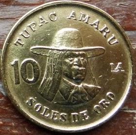 10 Солей,1978 года, Перу, Монета, Монеты, 10Soles de Oro 1978, Peru,Tupac Amaru,Тупак Амаруна монете, Coat of arms of Peru,Герб Перу на монете.