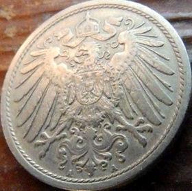 10 Пфеннигов,1904 года, Германия, Німеччина,Монета, Монеты, 10 Pfennig 1904,Deutsches Reich, Coat of arms,Герб,Корона, Crown, Fauna, Фауна, Пташка, Bird,Птица, Eagle, Орел на монете.