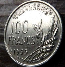 100 Франков, 1955 года, Франция,Монета, Монеты, 100 Francs1955,RepubliqueFrancaise, France,Гілка оливкового дерева, Olive, Ветвь оливковогодерева,Spikelets, Колоски на монете,Girl,Девушкана монете.