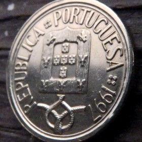 10 Эскудо, 1997 года, Португалия, Монета, Монеты, 10 Escudos 1997, Republica Portuguesa,Portugal, Квітковий орнамент,Цветочный орнамент,floral ornament на монете,Coat of Arms,Герб,Вітрильний вузол,Sailing knot, Парусный узелна монете.