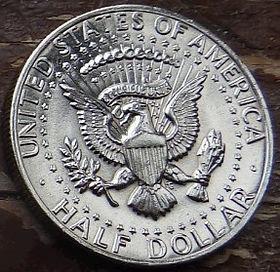 1/2 Доллара, 1980 года,Соединенные Штаты Америки, Монета, Монеты, HalfDollar1980,The United States of America,Fauna, Eagle, Фауна, Орелна монете, President John Fitzgerald Kennedy, Президент Джон Фицджералд Кеннедина монете.