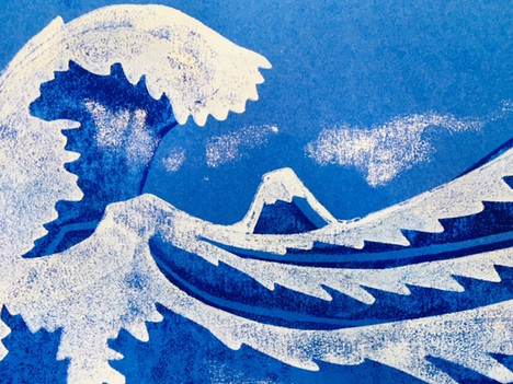 Hokusai relief print - 6-12 year olds
