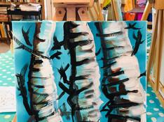 birch tree, acrylic painting on canvas