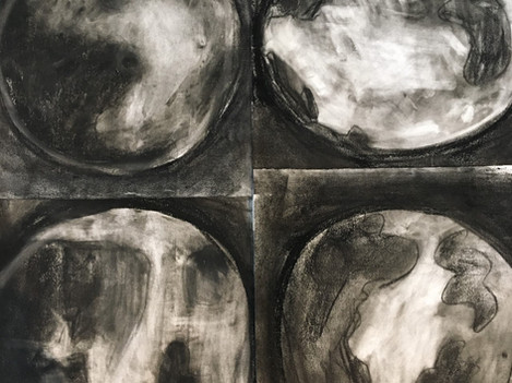 Charcoal Moon Drawings