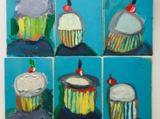 Wayne Thiebaud isnpired cupcakes, oil pastel and acrylic on panel