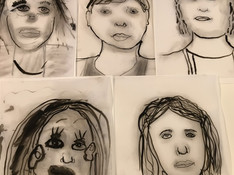 Self portraits in charcoal and ink on Mylar