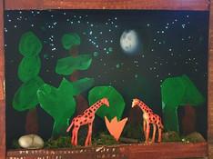 night time nature sculpture, mixed media