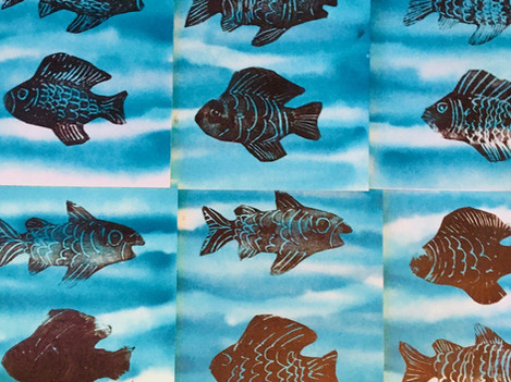 swimming fish relief prints