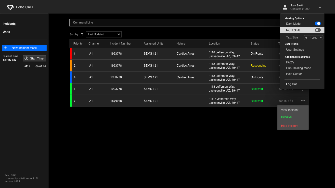 Incidents Page: Profile Drop Down