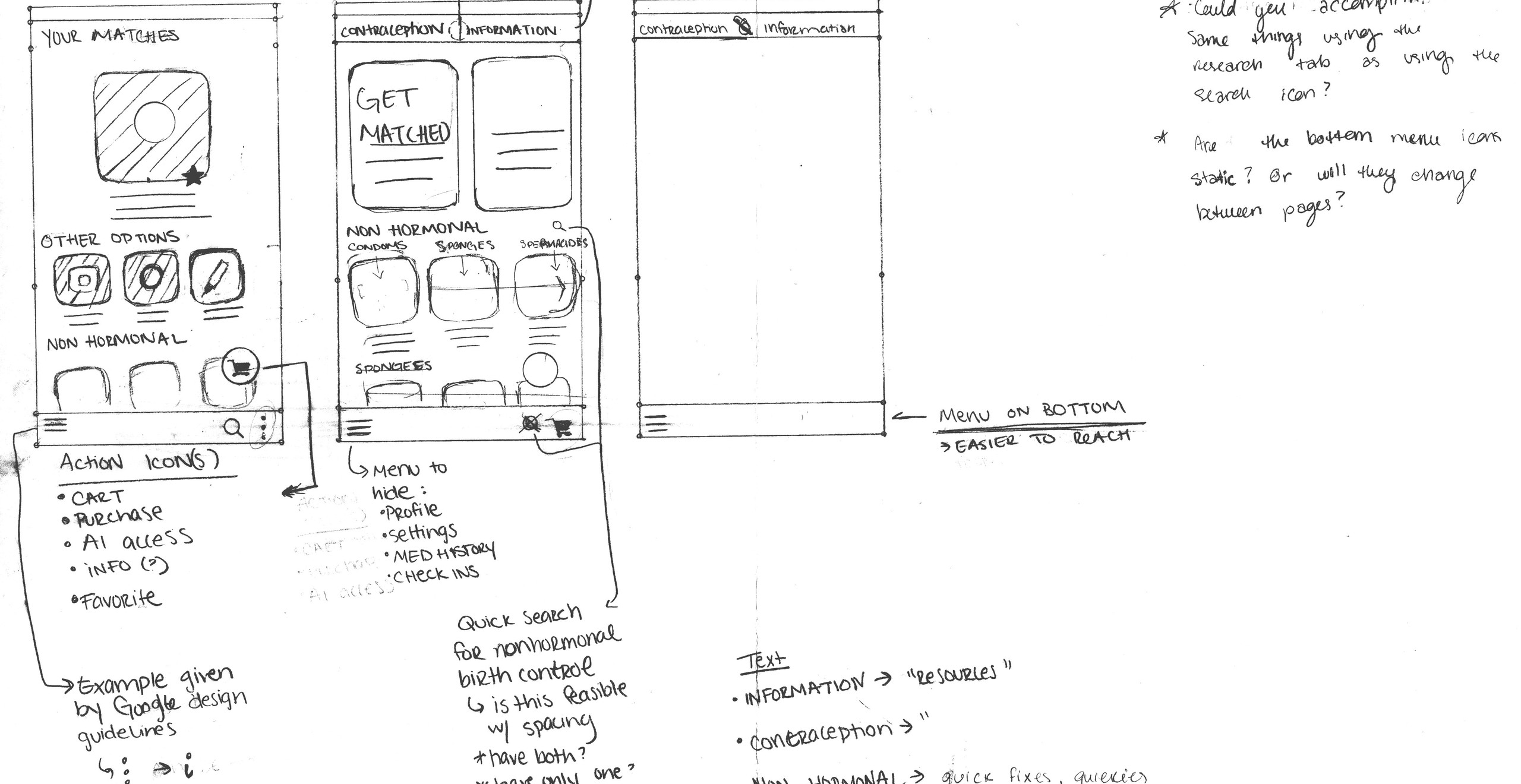 A series of sketches showing the original design layout of the Rosmi app