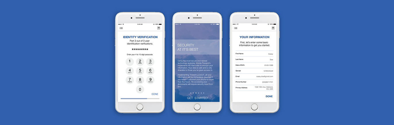 UX/UI screens for Mobile Passport+ created by Cydney Phan