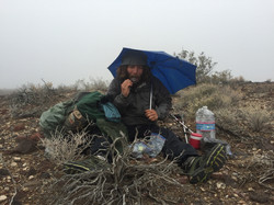 snack in Death Valley rain