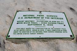 Sign on Mt. Whtiney Summit