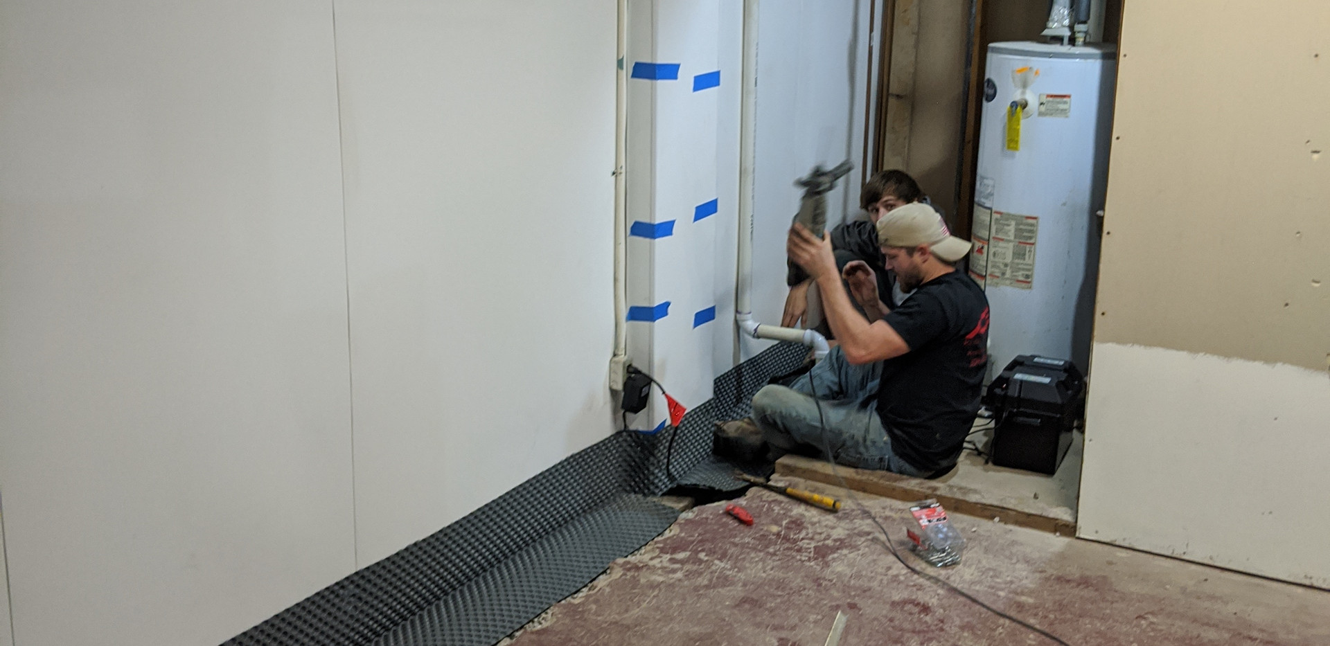 Dimple boarding in a drain tile system installation project