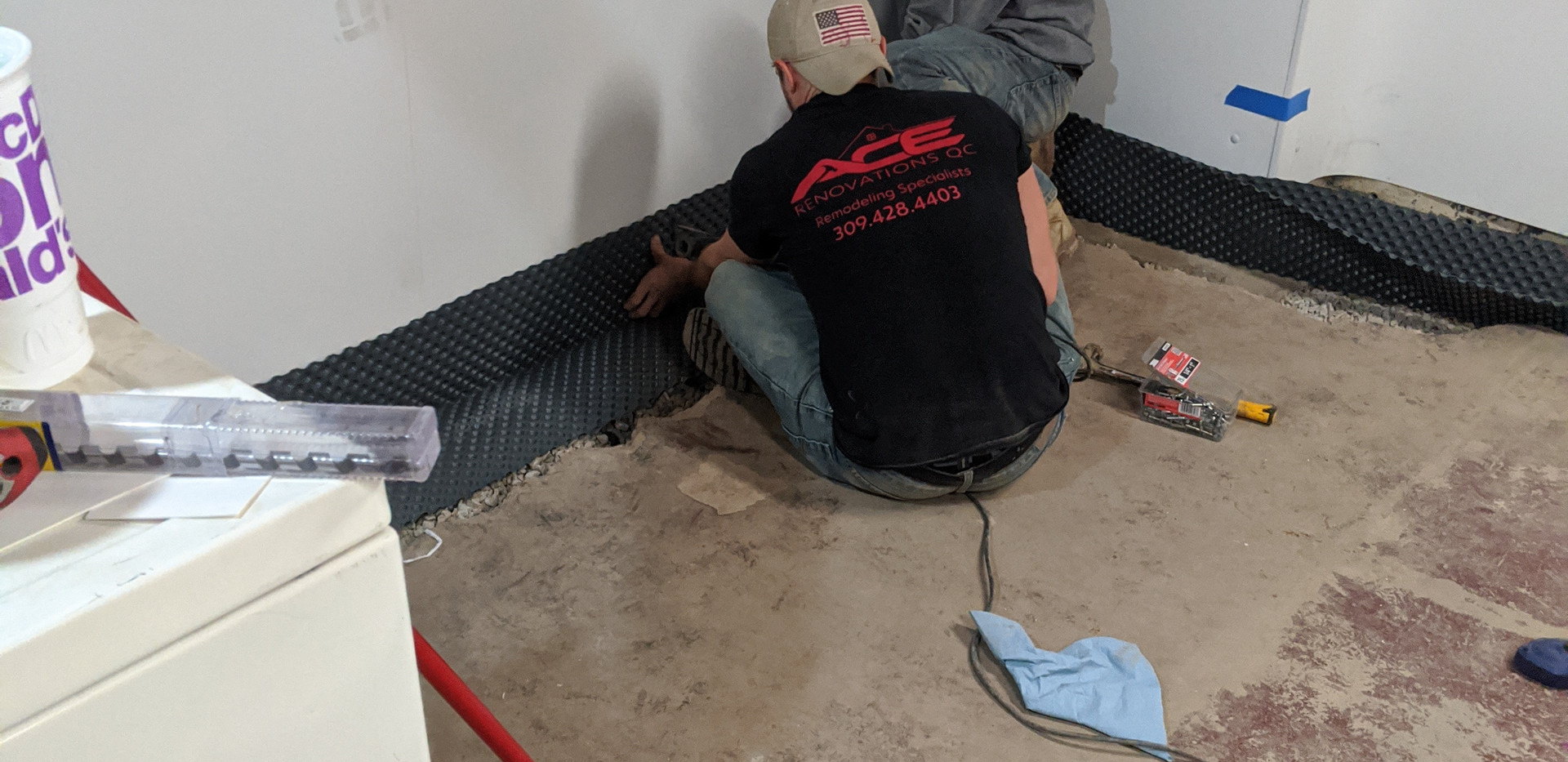 Mid dimple board install in drain tile system installation