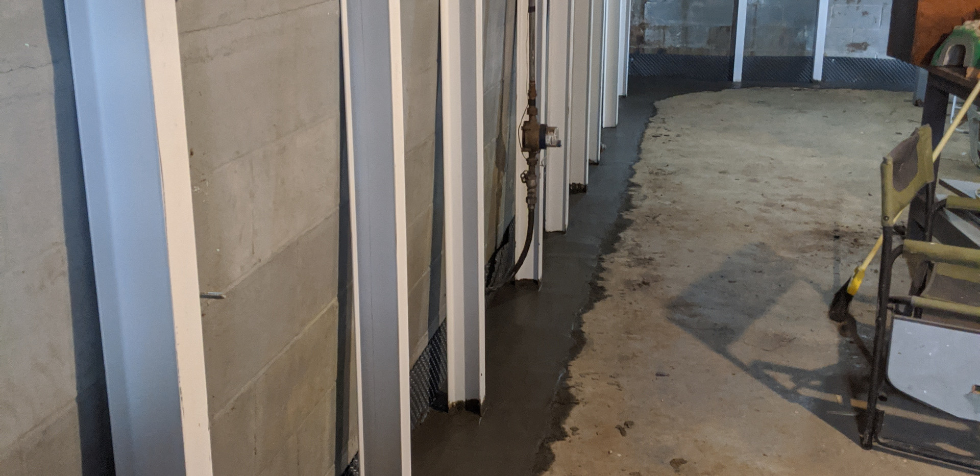 Waterproofing project with installation of steel ibeams for stabilization
