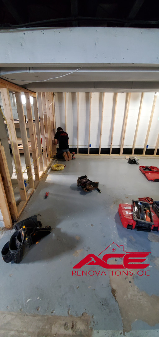 Interior Drain Tile System Installation and Basement Build-Out