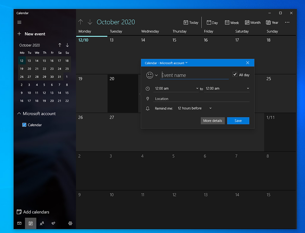 creating a calendar event in windows 10
