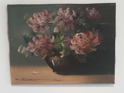 Toile ancienne fleurs