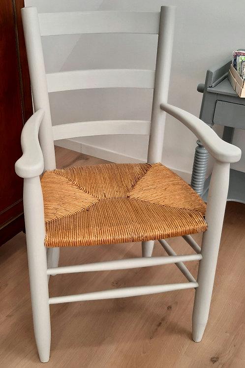 Grand fauteuil bois et paille