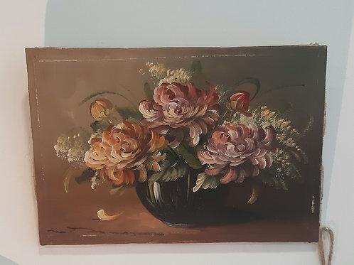 Petite toile fleurs ancienne