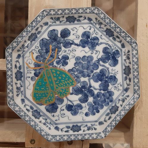 Assiette à dessert décorative ancienne customisée