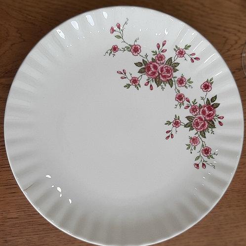 Assiette plate motif petites fleurs en bandeau