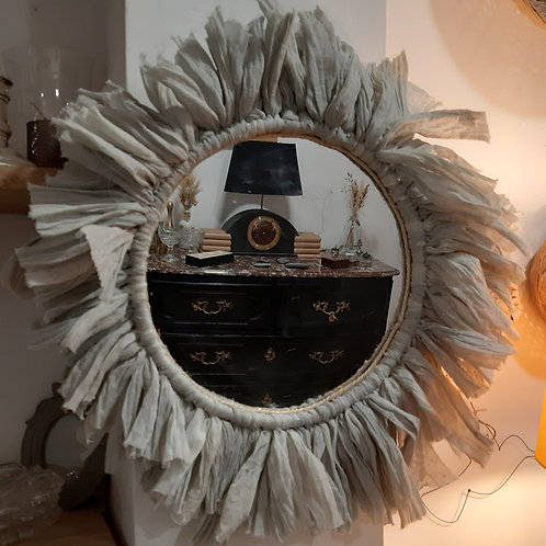 Miroir rond tour en tissu