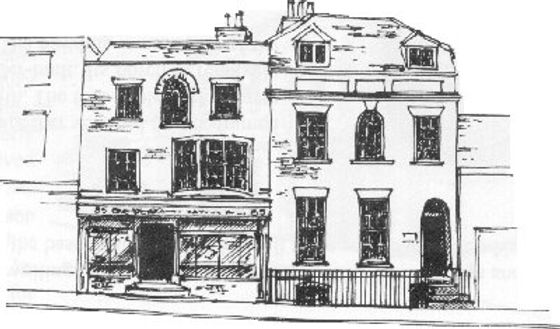 Line drawing of 87 Newland St Witham. A Georgian Town House