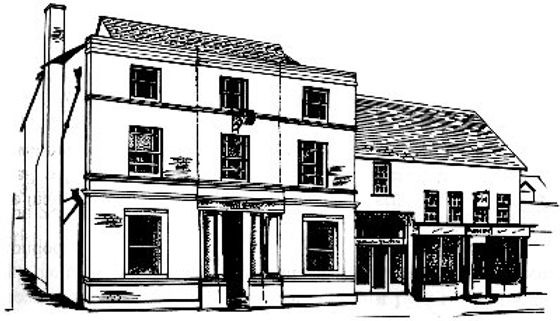 Line drawing of Witham Town Hall.