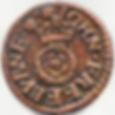 Token coin minted by John Freeburne, Witham.