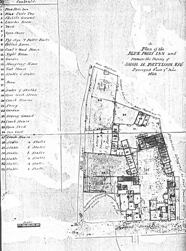 Plan of the Blue Posts Inn, Witham circa 1840.