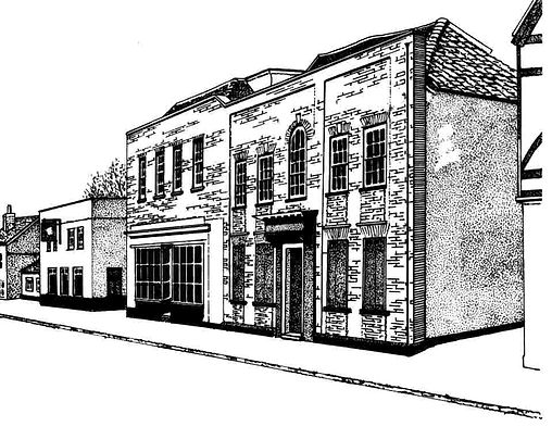 Line drawing of the Blue Posts Inn, Witham.