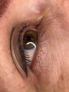 Soft shaded baby winged eyeliner.