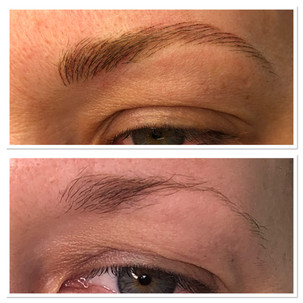 Feather stroke brow tattoo.