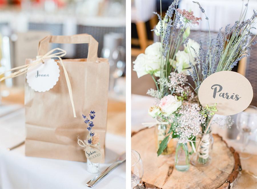 Tischdekoration mit Lavendel und Rosen