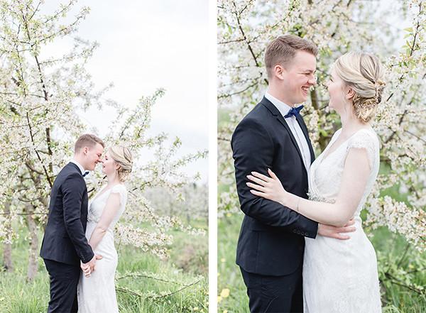Brautpaar zur Kirschblüte in Jork