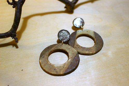 Stone Circular Stud Earrings