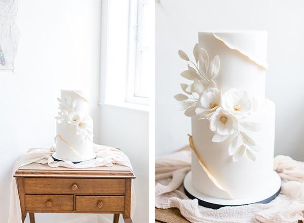 Hochzeitstorte in Weiß-Gold