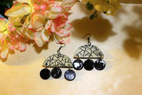 Black and White Geometric Earrings