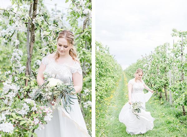 Brautfotos zur Apfelblüte im Alten Land
