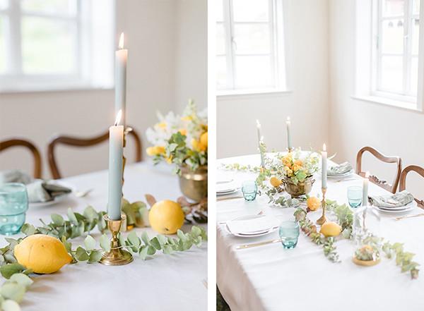 Tischdekoration einer Hochzeit in Gelb - Grün