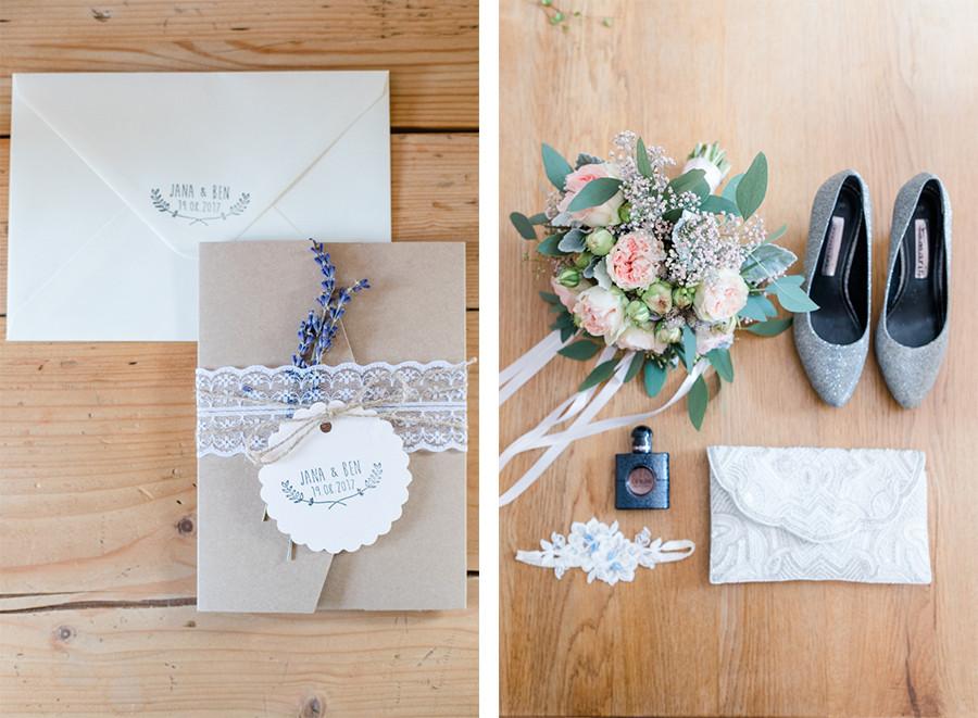 Brautdetails und Hochzeitseinladung