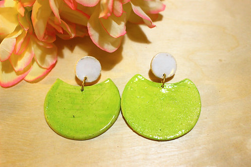 Neon Green Circular Stud Earrings