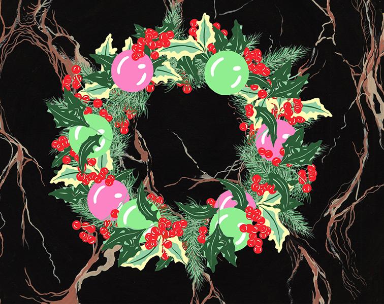 Holly Wreath on Black Marble #4