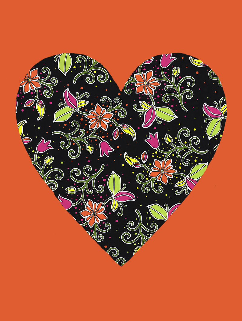Fluorescent Heart with orange #163