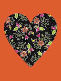 Fluorescent Heart with orange #163