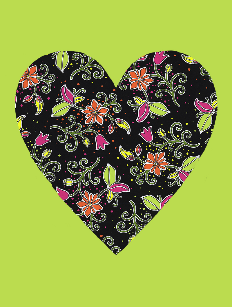 Fluorescent Heart with lime #162